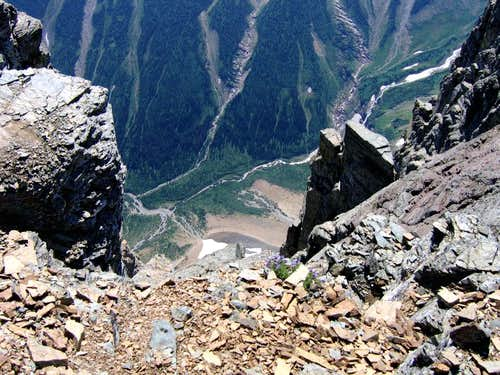 View DOWN from Mount Gould\'s summit.