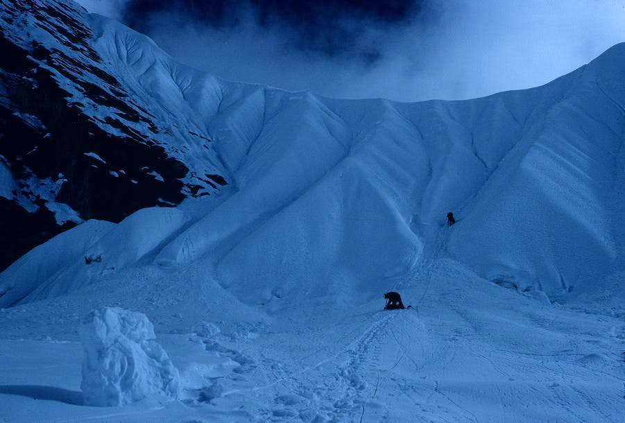 The Headwall below the Saddle on Cholatse's South West Ridge