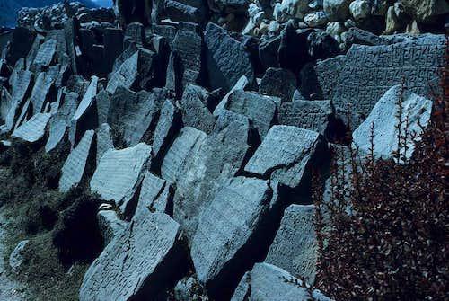 Prayer Stones in the Khumbu Valley below Cholatse