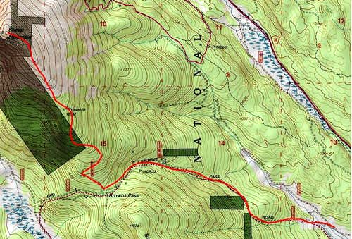 Map: Southeast Ridge via  Brown\'s Pass