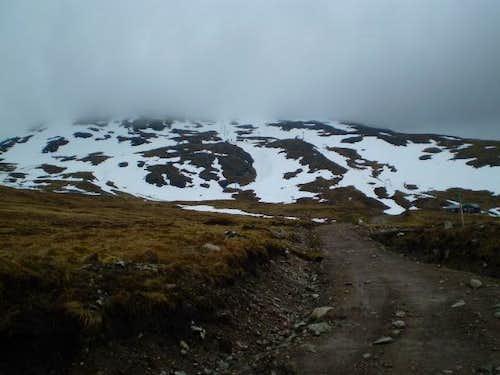 Cloud covered Meall a'Bhuiridh