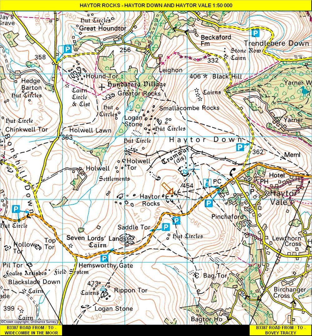Haytor Rocks Map