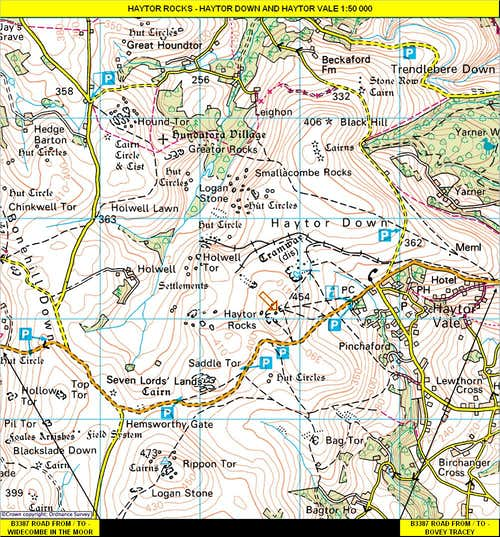 Haytor Rocks Map