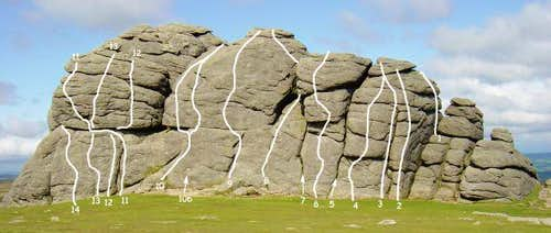 Haytor Rocks Routes - East Face