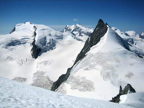 A view from the summit of Allalinhorn