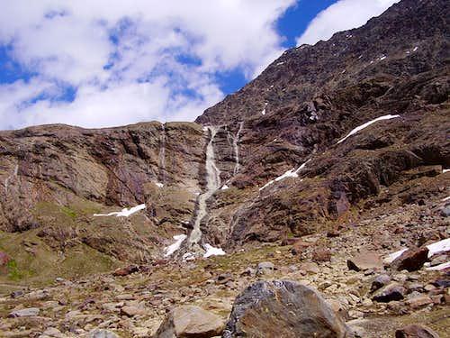 Waterfalls from Dosegù Glacier