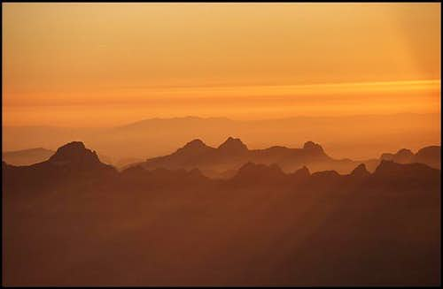 Sunset over the Les Aiguilles...