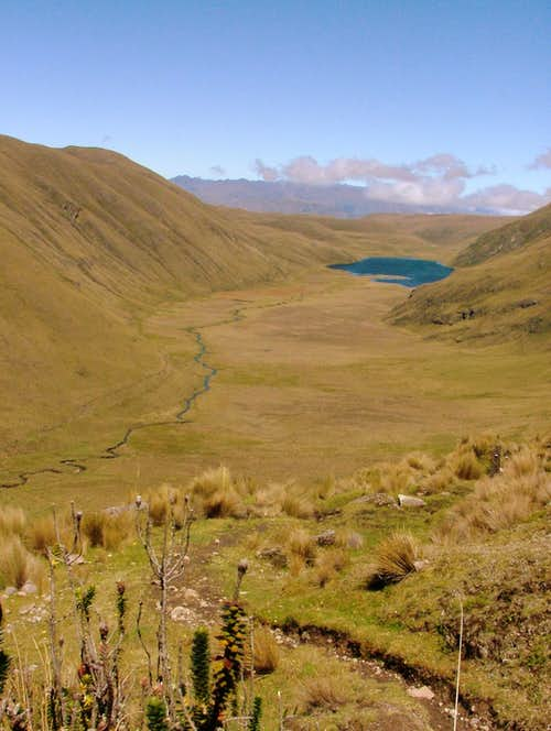 Laguna Culebrillas as seen from Quilloloma. Inca Trail, Ecuador.