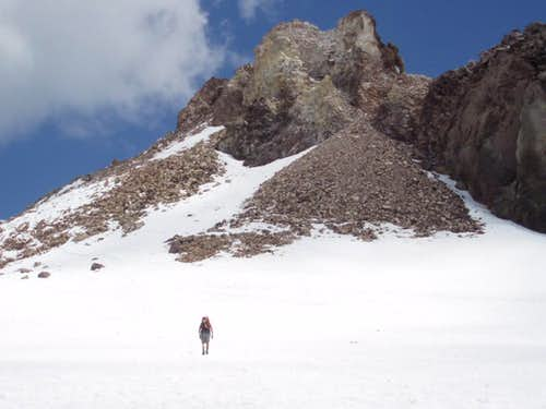 The summit plateau and summit in the background