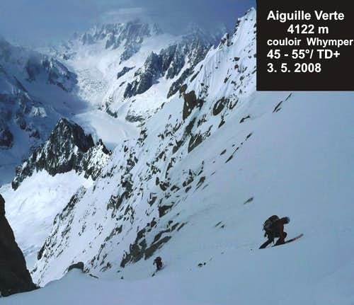 Whymper couloir skiing - Aiguille Verte