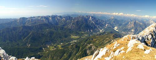 View across the Prealpi Giulie