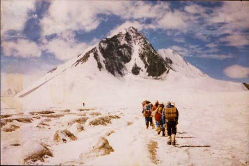 Chinese climbers walking...