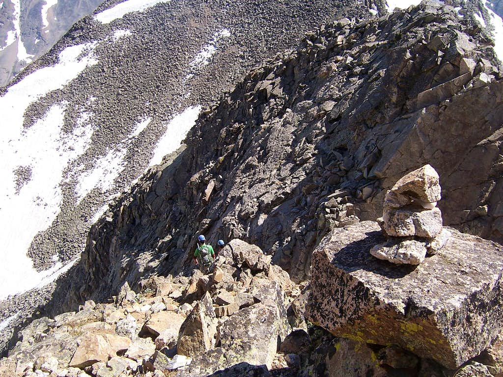 Looking down the traverse