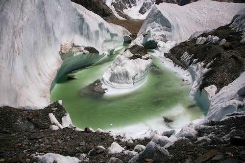 Pond near Gasherbrum-IV base camp, Karakoram, Pakistan