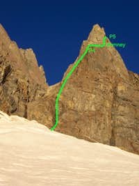 Start of east arete of Split Mt