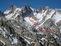 The Cleaver as seen from the North East Ridge of Lone Pine Peak