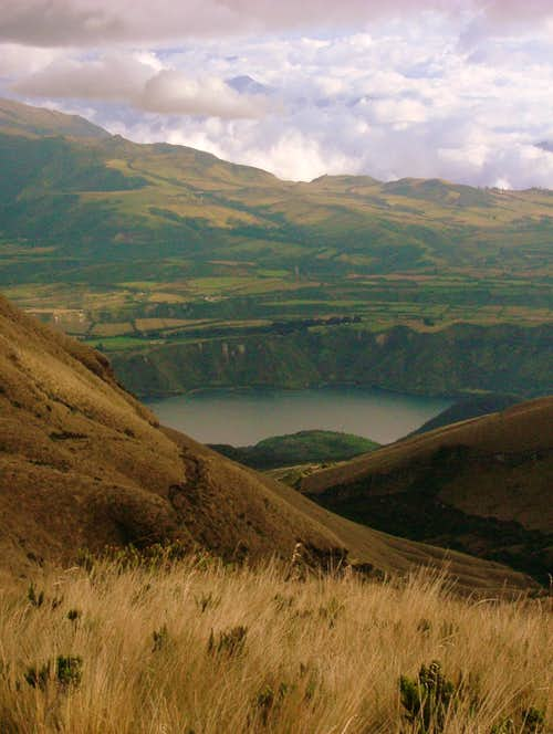 Laguna de Cuicocha as seen from Cotacachi's foothills.