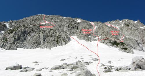 NE Face Routes from the left