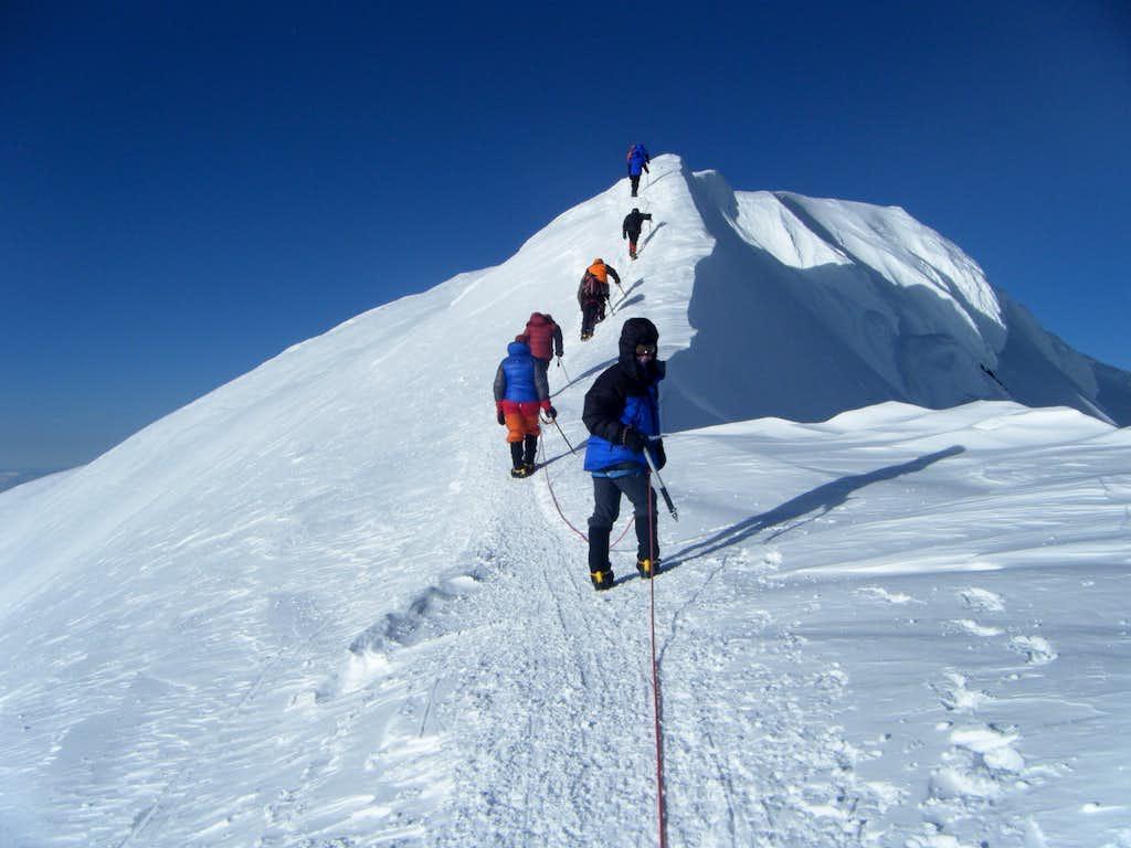 Denali - Rope Team on the Summit Ridge