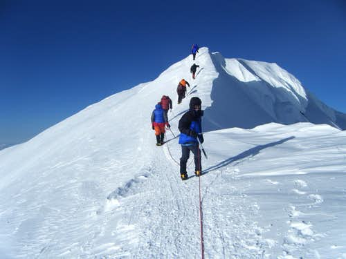 Denali - Rope Team on the Summit Ridge