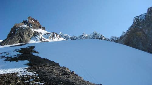 A view of the crater area from the top of Triangle Moraine.