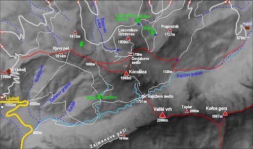 Kosutica / Loibler Baba map