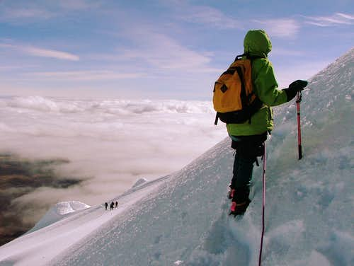 Traverse below the summit. Cotopaxi.