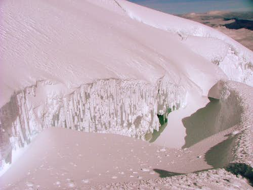 Snow covered cravasse. Cotopaxi.