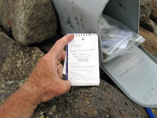 The summit register contains