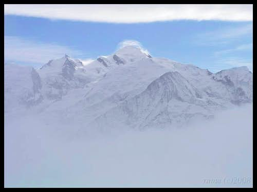 Mont Blanc in clouds