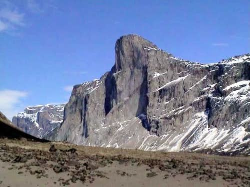 Looking up at Mt. Thor's...