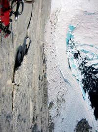 Looking down from belay 3