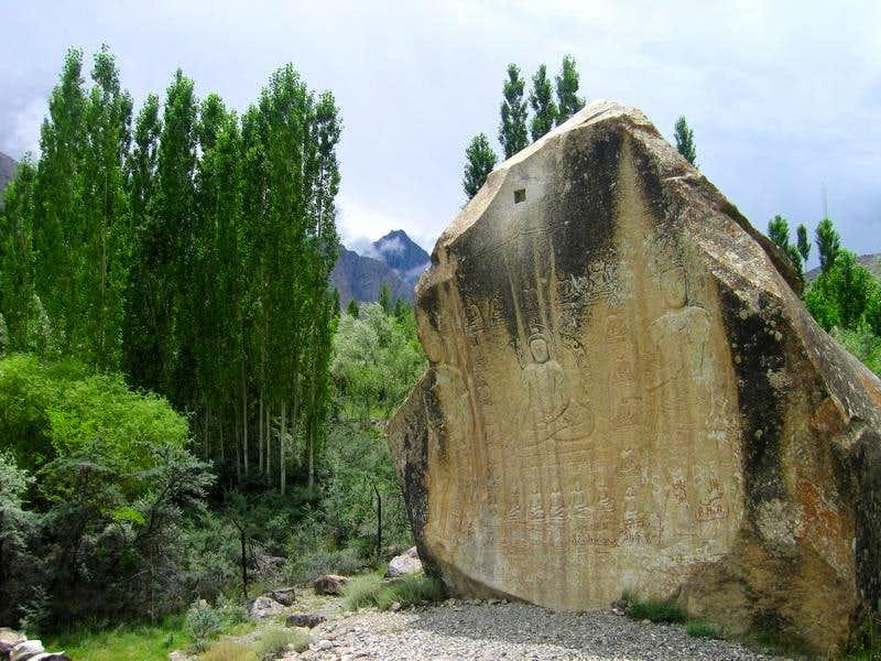 Rock Carving of Buddah, at Skardu
