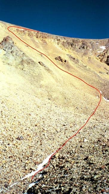 The route down the scree...