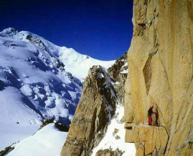 Climbing the Aiguille du...