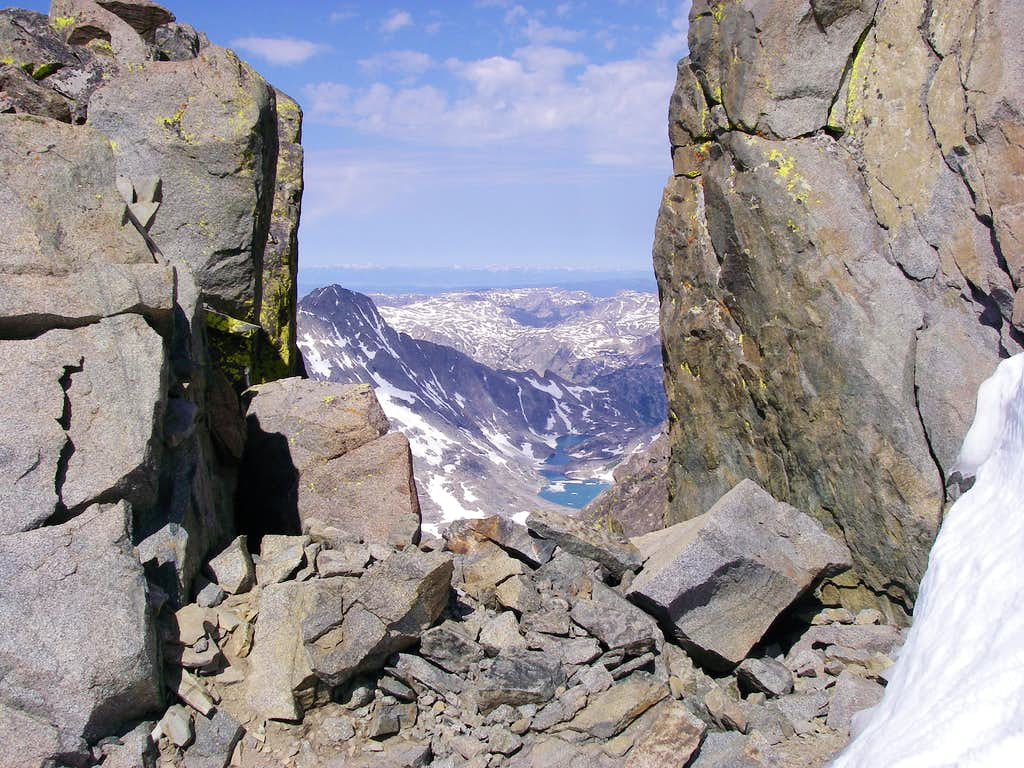 Looking west through a notch in the summit ridge
