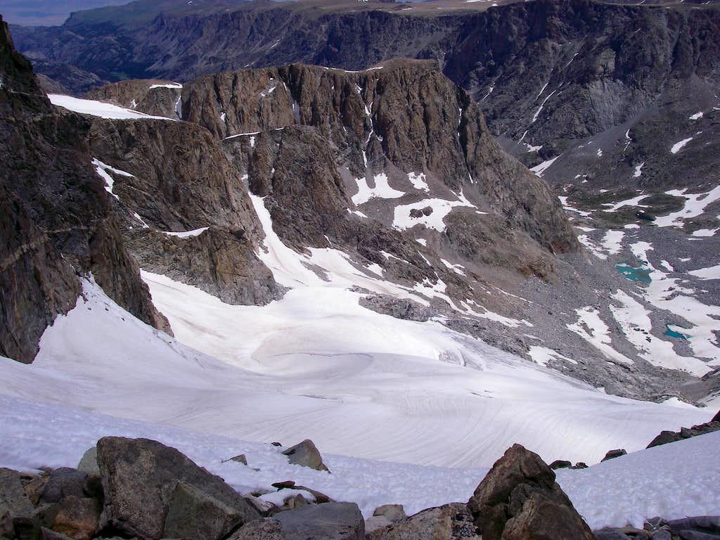 Looking down across the Gooseneck Glacier