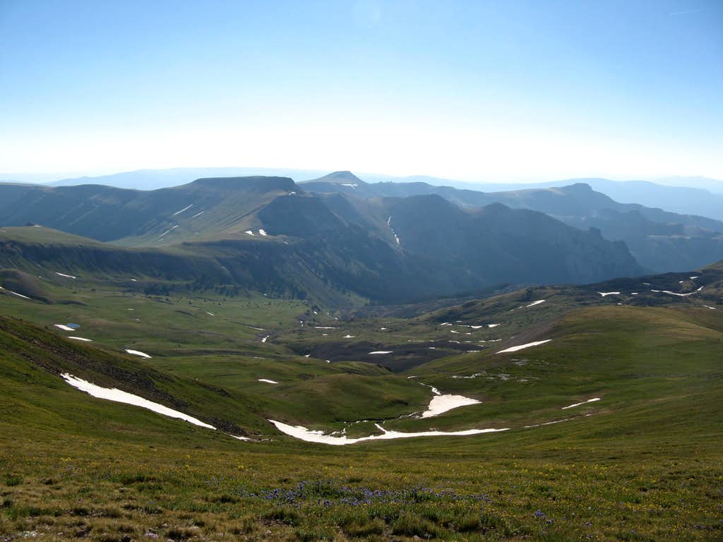 Nellie Creek basin from the slopes of Uncompahgre Peak
