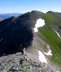 Janey Butterworth descends the ridge...