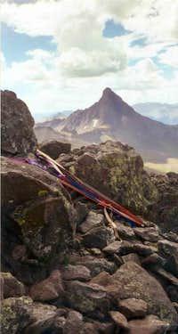 Wetterhorn Peak rises like a...