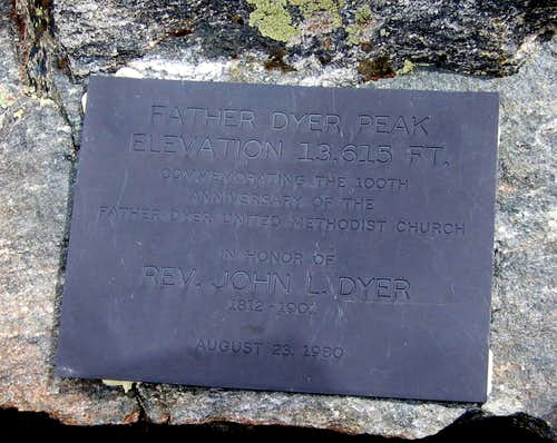 The plaque at the summit of Father Dyer...
