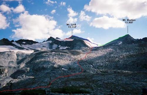 RED: Lyell Glacier to the...