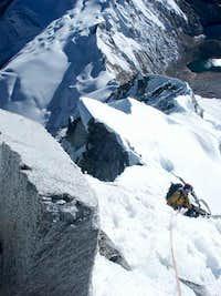 climbing on north-east ridge