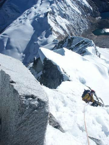 climbing on north-east ridge