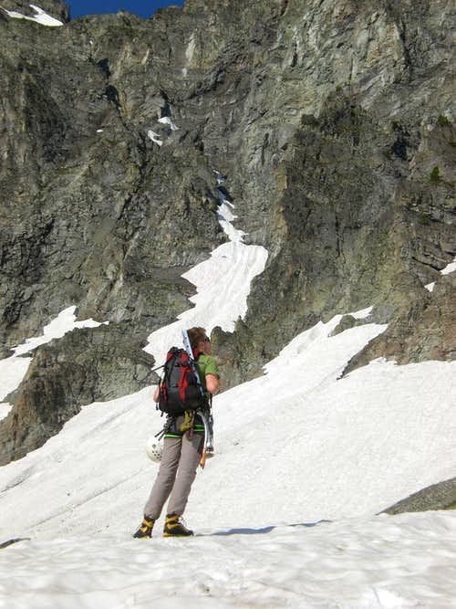 Sam Heading up the Snowfield