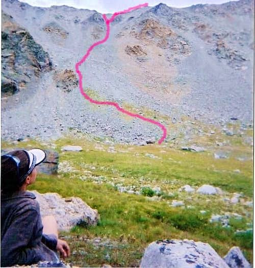 West Couloir route and Mt. Massive summit