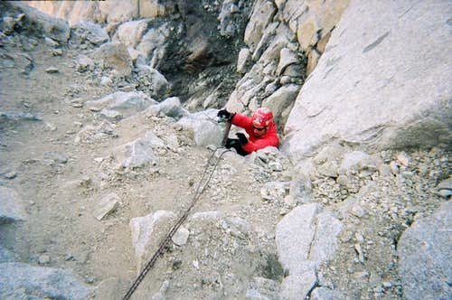 Moynier Couloir melted out loose crap