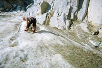 soloing the bottom of the Moynier Couloir on Mt. Thompson