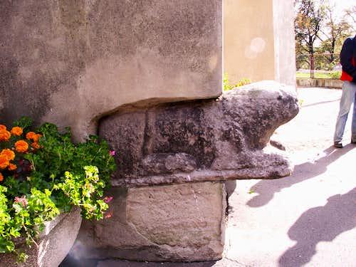 A granite lion…
