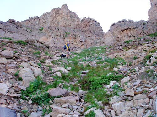The final section of ascent to N Ridge